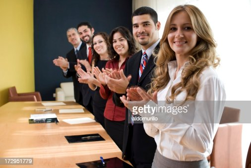 Work team congratulating