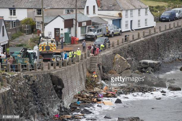 Work to repair the damage to the village of Coverack following a flash flood that continues on July 19 2017 in Coverack England A major incident was...