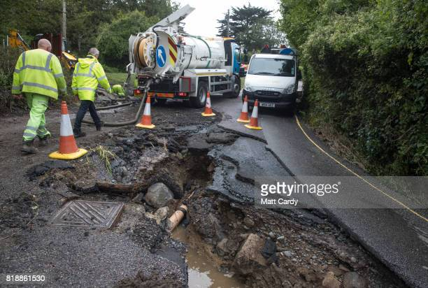 Work to repair the damage to the village of Coverack following a flash flood continues on July 19 2017 in Coverack England A major incident was...
