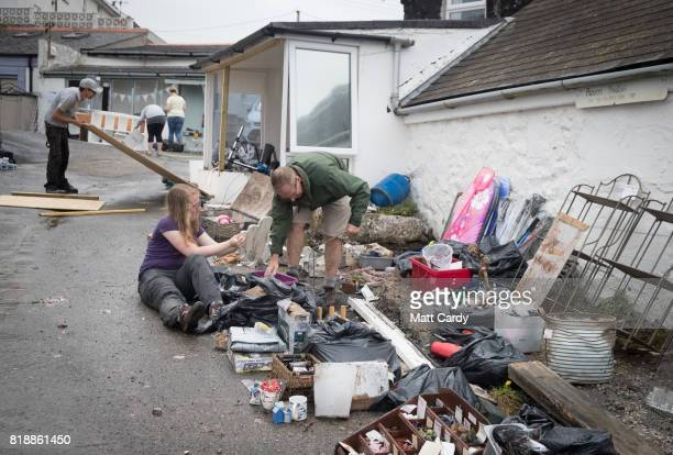 Work to repair the damage to the village of Coverack following flash flooding continues on July 19 2017 in Coverack England A major incident was...
