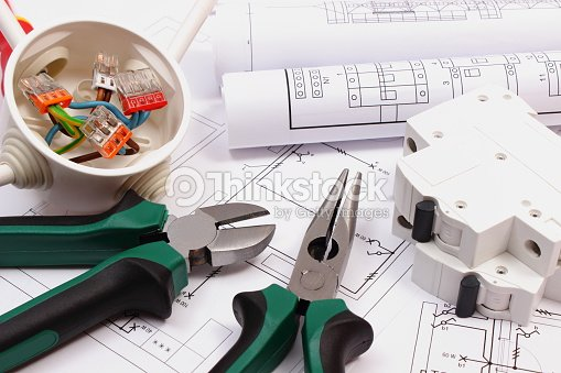 Work tools electrical box and fuse electrical construction drawing work tools electrical box and fuse electrical construction drawing stock photo ccuart Image collections