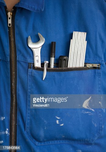 Work tools in overall pocket