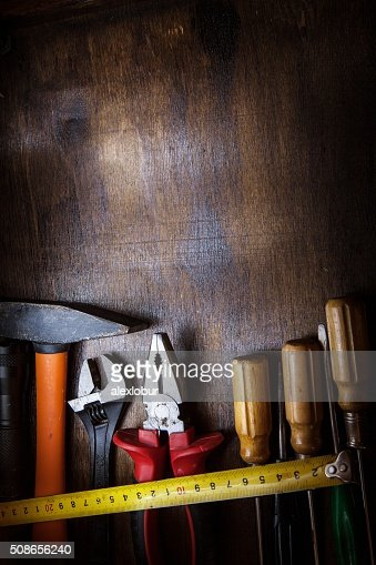 Workbench with instruments : Stock Photo