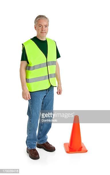 Arbeiter und Verkehrshütchen