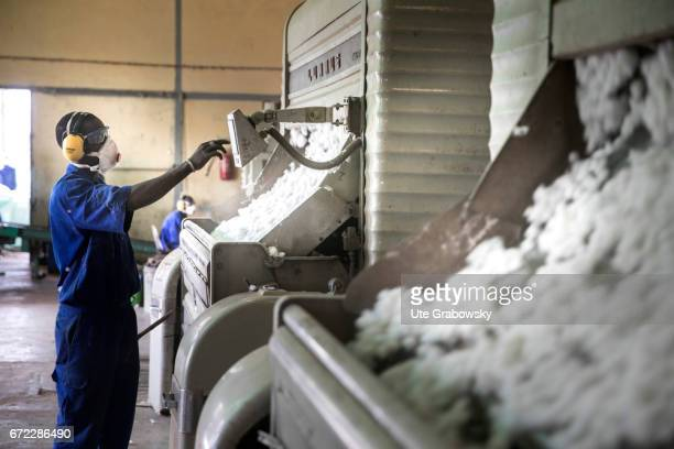 Worker at a technical plant for coring raw cotton at Faso Coton Here raw cotton is seeded seeds and cotton are separated and will be sold on February...
