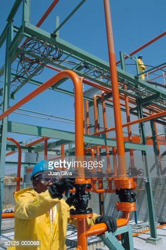 Worker at Chemical Plant : Stock Photo