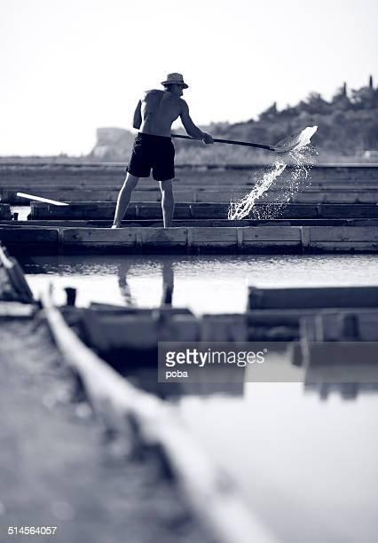 Worker at the salt fields