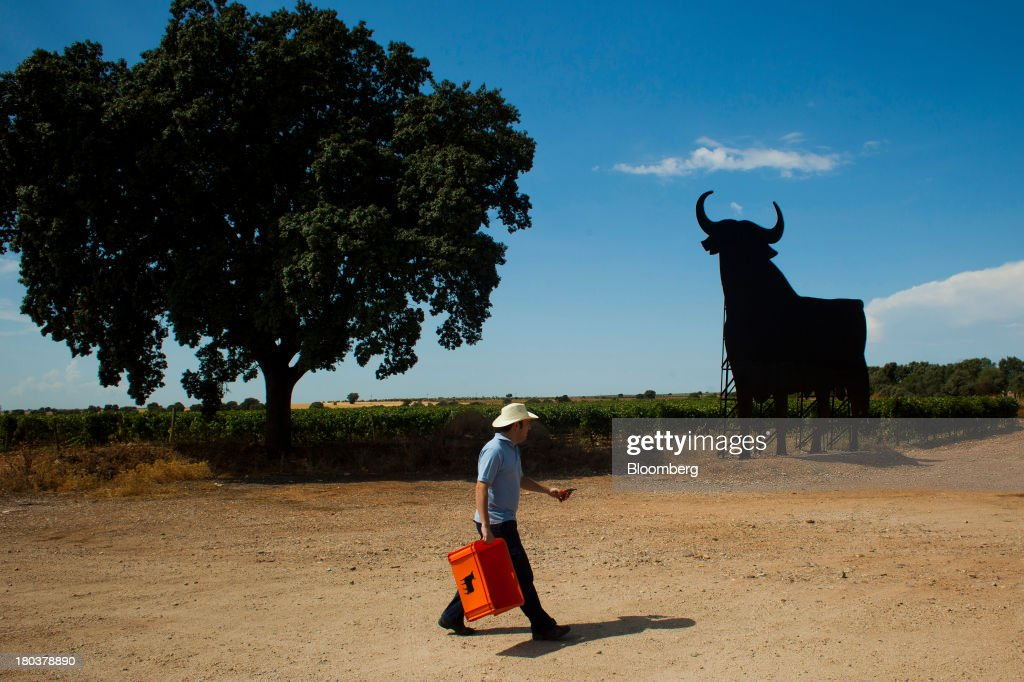 A worker carries a plastic box used for the grape harvest past a giant bull advertisement for the Bodegas Osborne SA winery in the company's vineyards in Malpica de Tajo, Spain, on Wednesday, Sept. 11, 2013. Spanish manufacturing expanded in August for the first time in more than two years, strengthening Prime Minister Mariano Rajoy's prediction that exports will help the economy emerge from recession this year. Photographer: Angel Navarrete/Bloomberg via Getty Images