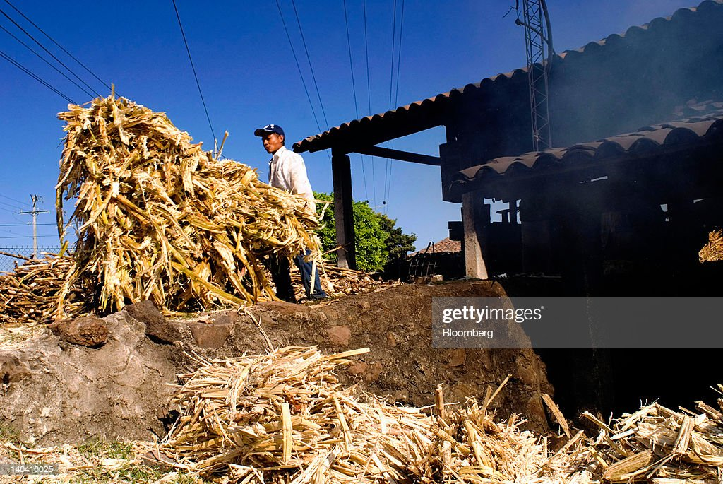 A worker carries shredded sugar cane for making handmade panela, a solid piece of unrefined whole cane sugar obtained from the boiling and evaporation of sugarcane juice, in Tepetitan, El Salvador, on Sunday, Feb. 26, 2012.Global sugar supply will be 'under pressure' amid significant demand growth by 2020, which may push prices up further, according to Mannheim, Germany-based refiner Suedzucker AG. Photographer: Juan Carlos/Bloomberg via Getty Images