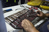 A worker checks a wallet of spanners before checking them out at the Tavan Tolgoi coal deposit developed by Erdenes Tavan Tolgoi JSC a unit of...