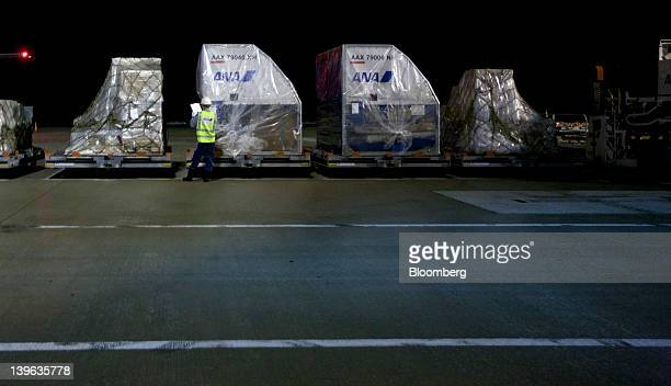 A worker checks air containers to load onto an All Nippon Airways Co cargo aircraft parked at the company's cargo hub terminal at Naha Airport in...