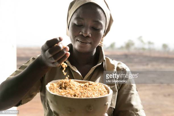 A worker checks the quality of the cooked rice before processing Production of Parboiled Rice in a rice processing plant of the Dreyer Foundation in...