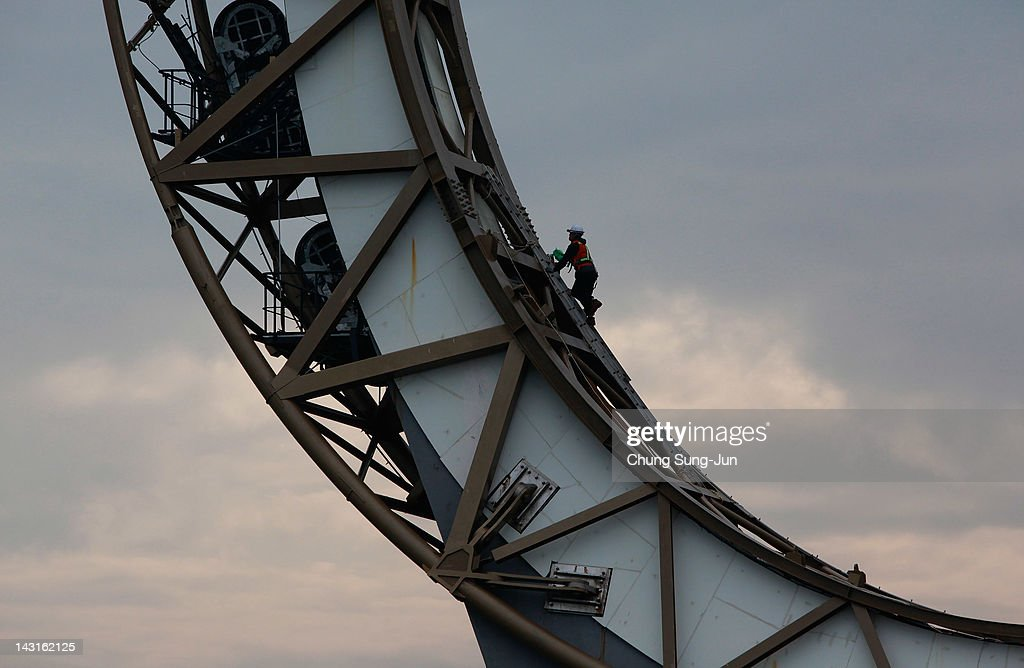 A worker constructs the 2012 Yeosu Expo facilities on April 20, 2012 in Yeosu, South Korea. More than 105 countries, 10 International Organizations and 10 million visitors are expected to participate in the expo that will open on May 12 to August 12.