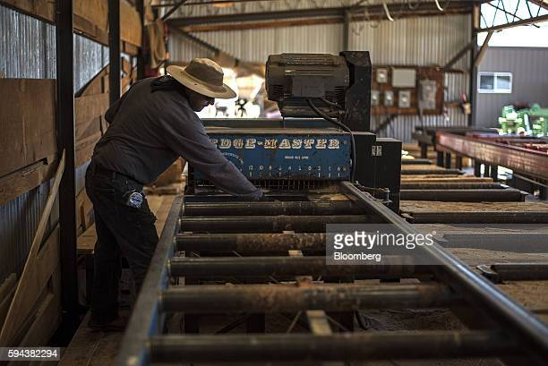 A worker cuts wood planks into various sizes at the Spotted Owl Timber Inc mill in Santa Fe New Mexico US on Monday Aug 15 2016 Founded in 1991 the...