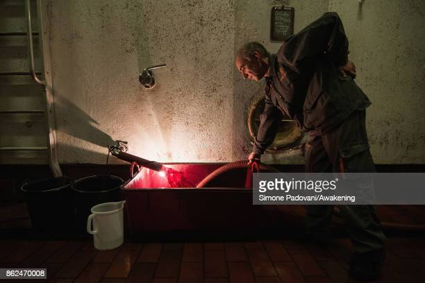 A worker decants the Barolo wine during the fermentation on October 17 2017 in the Barolo region Italy Because of the high summer temperatures...