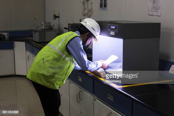 A worker examines the results of a spread test in a laboratory at an Akzo Nobel India Ltd factory in Gwalior Madhya Pradesh India on Thursday June 1...