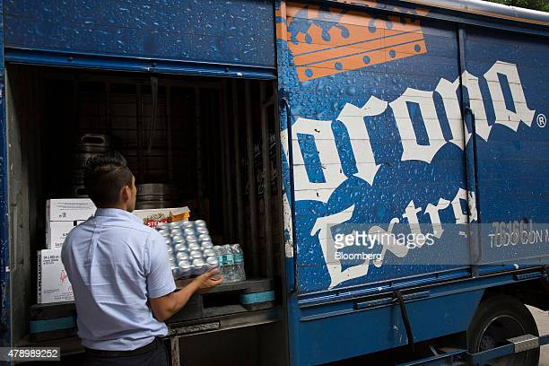 A worker from Constellations Brands Inc's Grupo Modelo subsidiary makes a delivery in the Zona Rosa neighborhood in Mexico City Mexico on Wednesday...