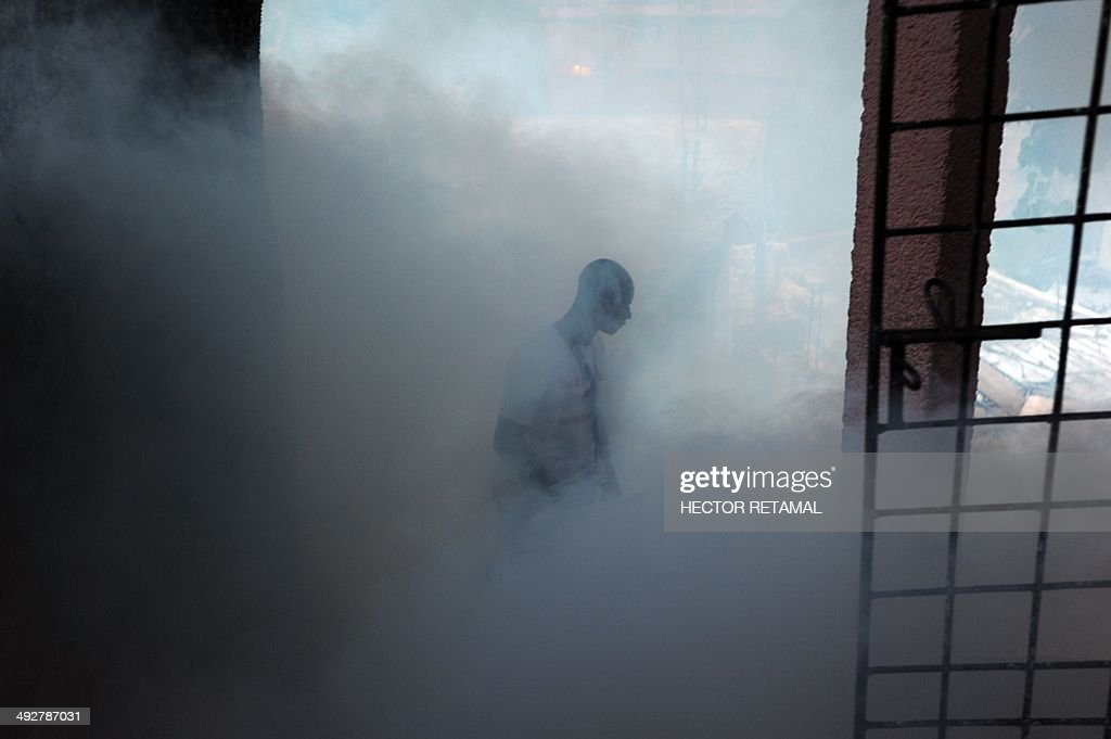 A worker from Haiti's Ministry of Public Health and Population sprays chemical to exterminate mosquitoes in a neighborhood of Petion Ville in Port-au-Prince on May 21, 2014. A worker said the procedure is to help prevent chikungunya, dengue, malaria and filariose. AFP PHOTO / Hector RETAMAL
