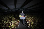 A worker harvests a crop of forced rhubarb at Oldroyd's Farm in Carlton east of Leeds in northern England on January 8 2015 The area of England is...