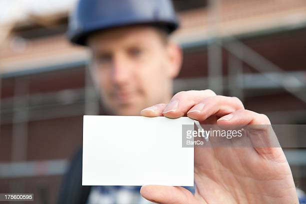 Worker Holding a businesscard