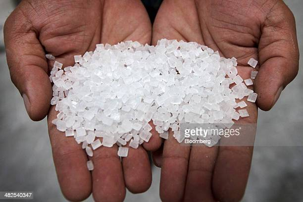 A worker holds large crystals of candy sugar for a photograph at the Simbhaoli Sugars Ltd manufacturing plant in Simbhaoli Uttar Pradesh India on...