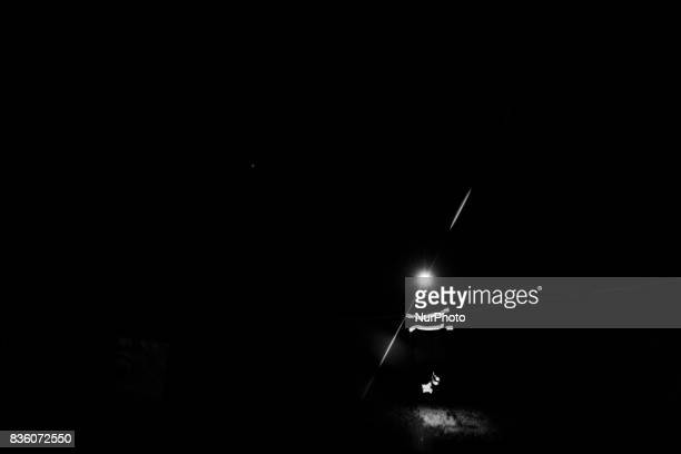 A worker in a demonstration tunnel approximately 420 meters underground at Posiva's spent nuclear fuel repository ONKALO in Olkiluoto Eurajoki on 17...