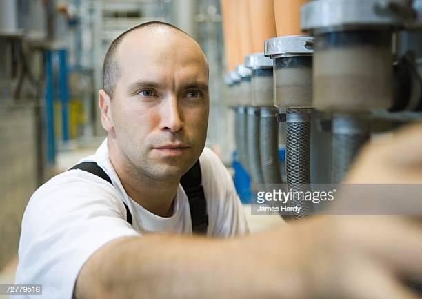Worker in paper mill