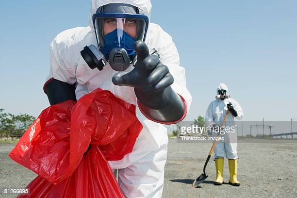 Worker in protective clothing
