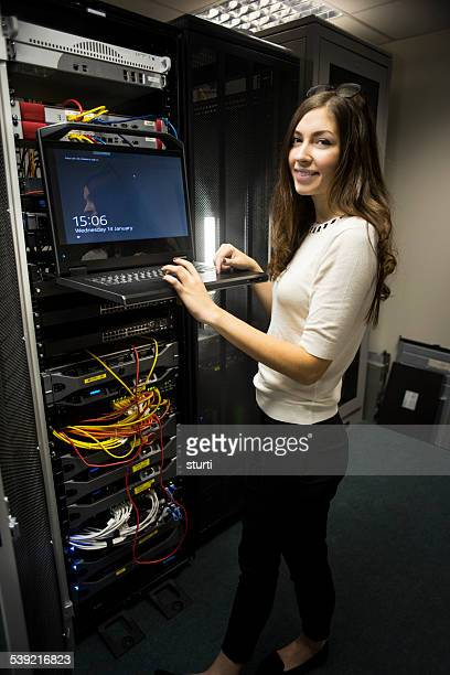 IT worker in server room