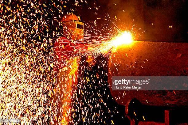worker in steel mill