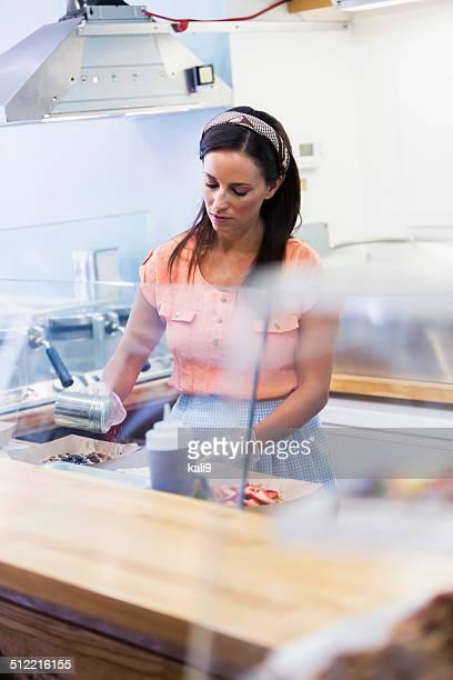 Arbeiter in Waffel-shop