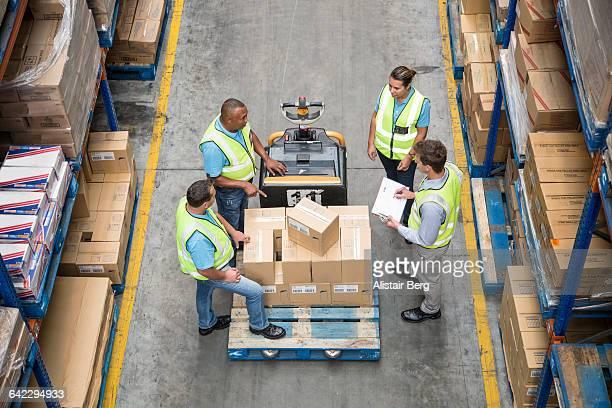Worker inside a food distribution warehouse