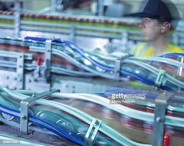 Worker inspecting canning line in brewery