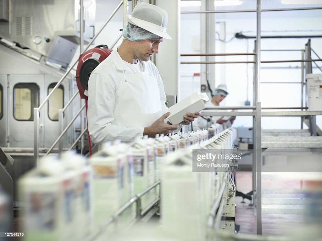 Worker inspecting goat's milk in dairy : Stock Photo