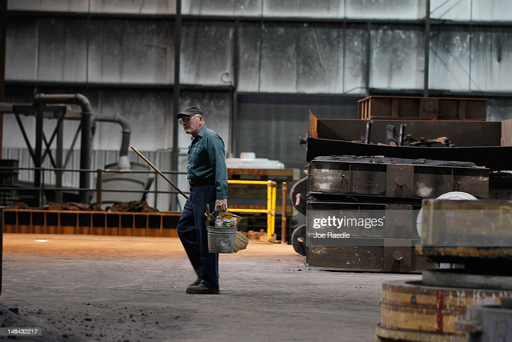 A worker is seen before a visit by Republican Presidential candidate, former Massachusetts Gov. Mitt Romney at the Weatherly Casting Company during a campaign stop on June 16, 2012 in Weatherly, Pennsylvania. Mr. Romney continues hs campaign swing through battle ground states as he battles President Barack Obama for votes.