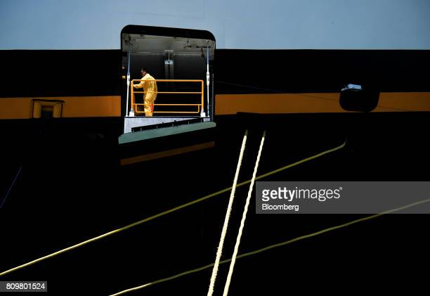 A worker is seen inside the Disney Dream cruise ship at Port Canaveral in Cape Canaveral Florida US on Wednesday July 5 2017 The US Census Bureau...