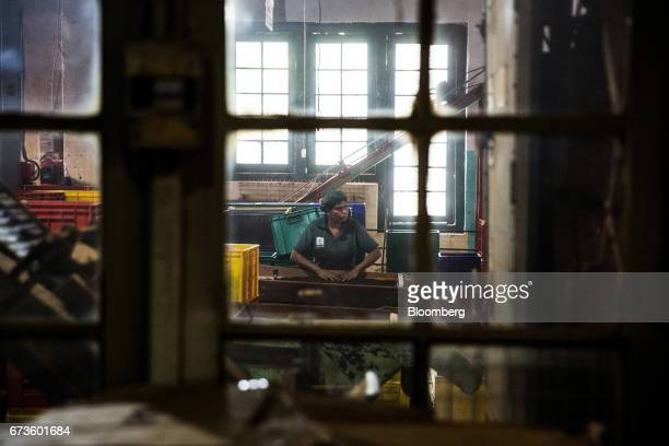 A worker is seen through a window at the factory of the Geragama Tea Estate operated by Pussellawa Plantations Ltd in Pilimathalawa Central Sri Lanka...