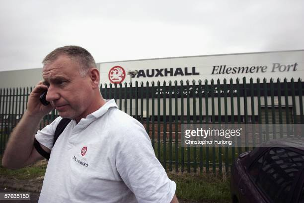 A worker leaves Vauxhall Motor Company's Astra production centre at the end of his shift on May 17 2006 in Ellesmere Port England Chancellor Gordon...