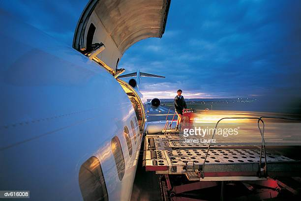 Worker Loading Cargo on Airplane