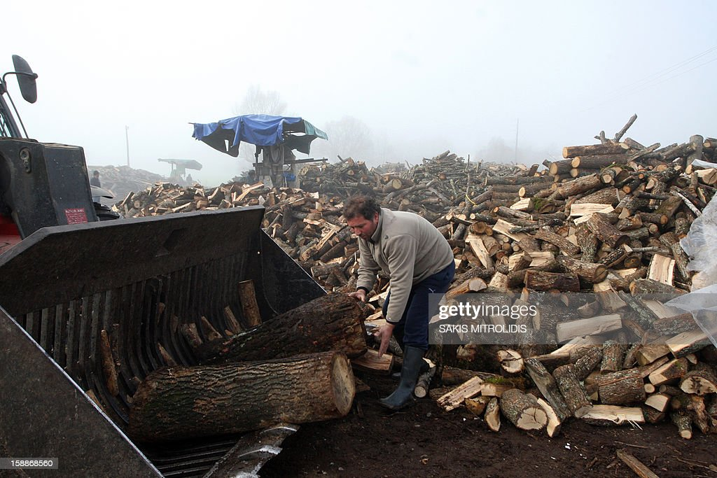 A worker loads wood in a wood factory in Grevena, on January 2, 2013. Air pollution in cities of Greece has surged in recent days because of people choosing wood over more expensive fuels to heat their homes in the grips of a continuing economic crisis. Illegal logging has surged also in Greece as Forest Authorities reported that illegal logging activities across the country accounts for up to 30 percent of all lost forestland. AFP PHOTO /Sakis Mitrolidis