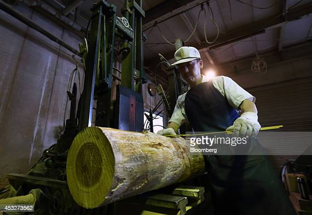 A worker measures a log to be processed at the Okikura Lumber Mill facility in Akiruno City Tokyo Japan on Friday Aug 1 2014 Along with farming the...