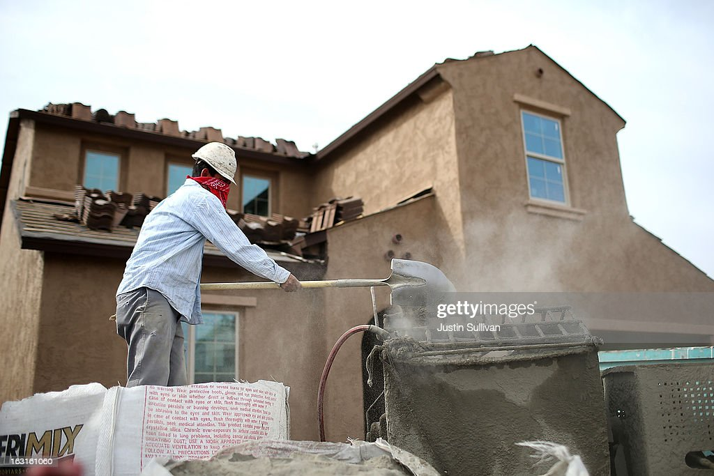 A worker mixes concrete at the site of a new home at the Pulte Homes Fireside at Norterra-Skyline housing development on March 5, 2013 in Phoenix, Arizona. In 2008, Phoenix, Arizona was at the forefront of the U.S. housing crisis with home prices falling 55 percent between 2005 and 2011 leaving many developers to abandon development projects. Phoenix is now undergoing a housing boom as sale prices have surged 22.9 percent, the highest price increase in the nation, and homebuilders are scrambling to buy up land.