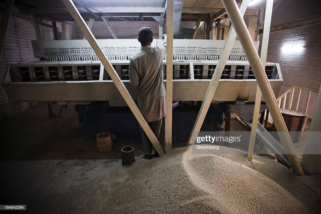A worker monitors rice processing at a factory in the Chiniot district of Punjab province, Pakistan, on Saturday, Oct. 13, 2012. Rice exports from Pakistan, the fourth-largest shipper, are set to rebound from November with the new harvest after a rally in domestic prices and cheaper supplies from India cut shipments, a traders' group said. Photographer: Asad Zaidi/Bloomberg via Getty Images