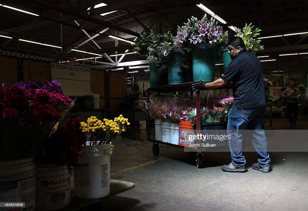 A worker moves a cart of flowers at the San Francisco Flower Mart on August 28, 2014 in San Francisco, California. The future of more than 100 flower businesses at the historic San Francisco Flower Mart hangs in the balance as Los Angeles based realty group Kilroy Realty Corp. is planning on purchasing the Flower Mart property. Kilroy has proposed a plan to build a tech campus on the site.