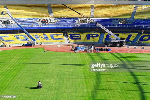 A worker mowes the field of Estadio Municipal de Concepción Alcaldesa Ester Roa Rebolledo prior to Copa America Chile 2015 at Concepcion Chile on...