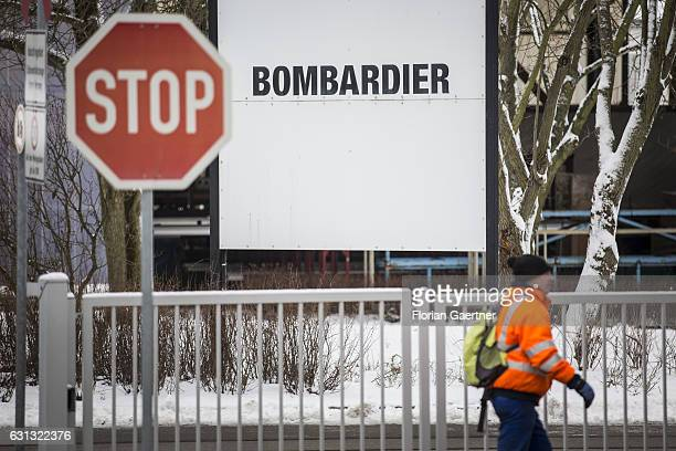 A worker of Bombardier goes to the plant on January 09 2017 in Bautzen Germany According to media reports Canadian train manufacturer Bombardier...