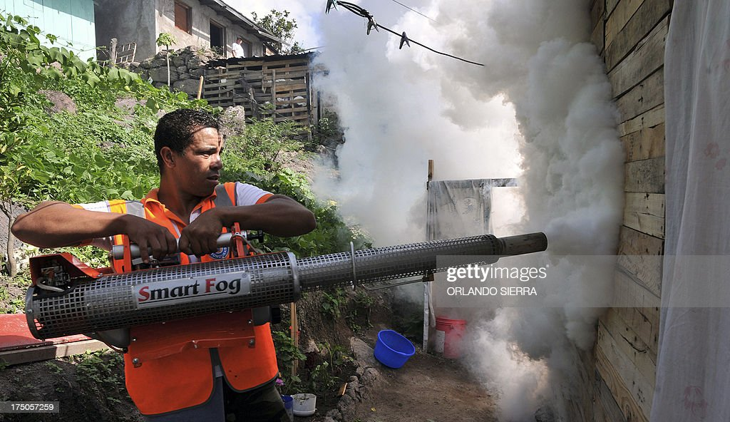 A worker of the Contingencies Committee fumigates against the dengue fever mosquito, Aedes aegypti, in Tegucigalpa on July 30, 2013. An unusually potent outbreak of dengue fever has killed 26 people and infected nearly 40,000 more so far this year in Central America, where the mosquito-born illness is endemic. Honduras has seen the most fatalities, with 15, and has seen 12,000 cases of dengue fever this year. AFP PHOTO /Orlando SIERRA.