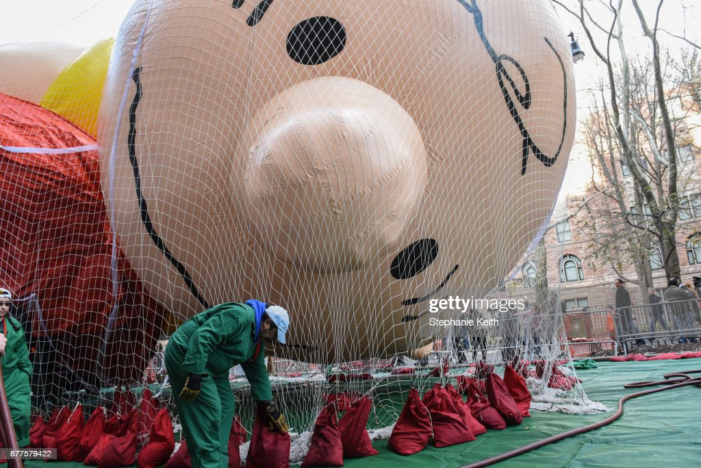 Floats For The Annual Macy's Day Parade Are Prepared In Central Park