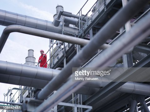 Worker on underground gas storage plant