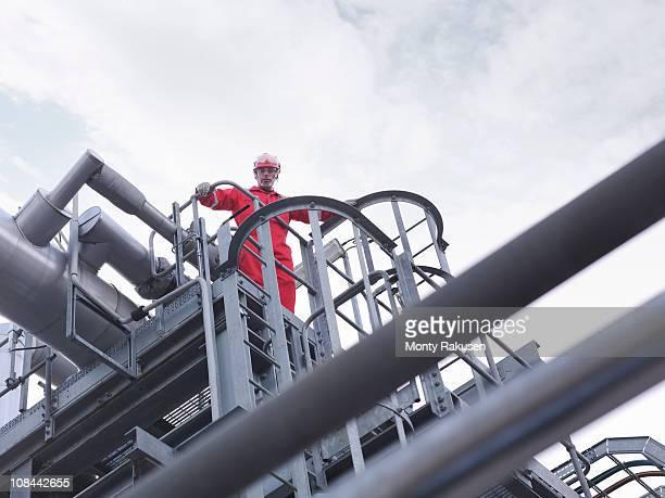 Worker on underground gas storage plant